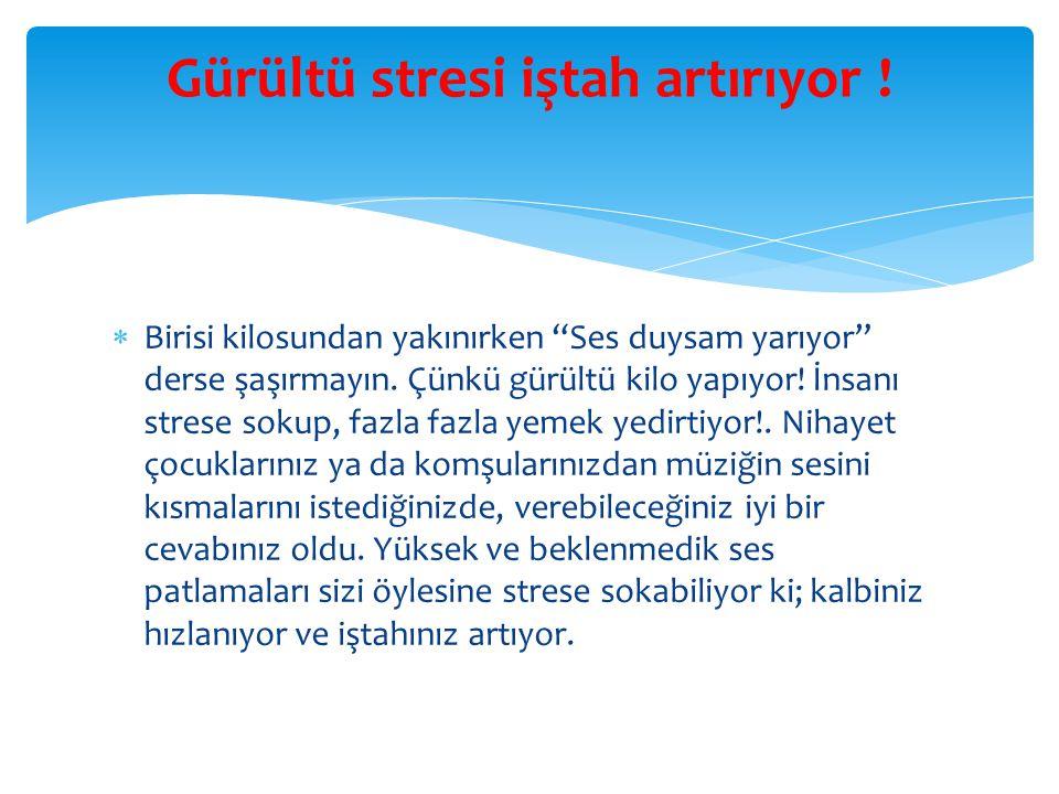 Gürültü stresi iştah artırıyor !