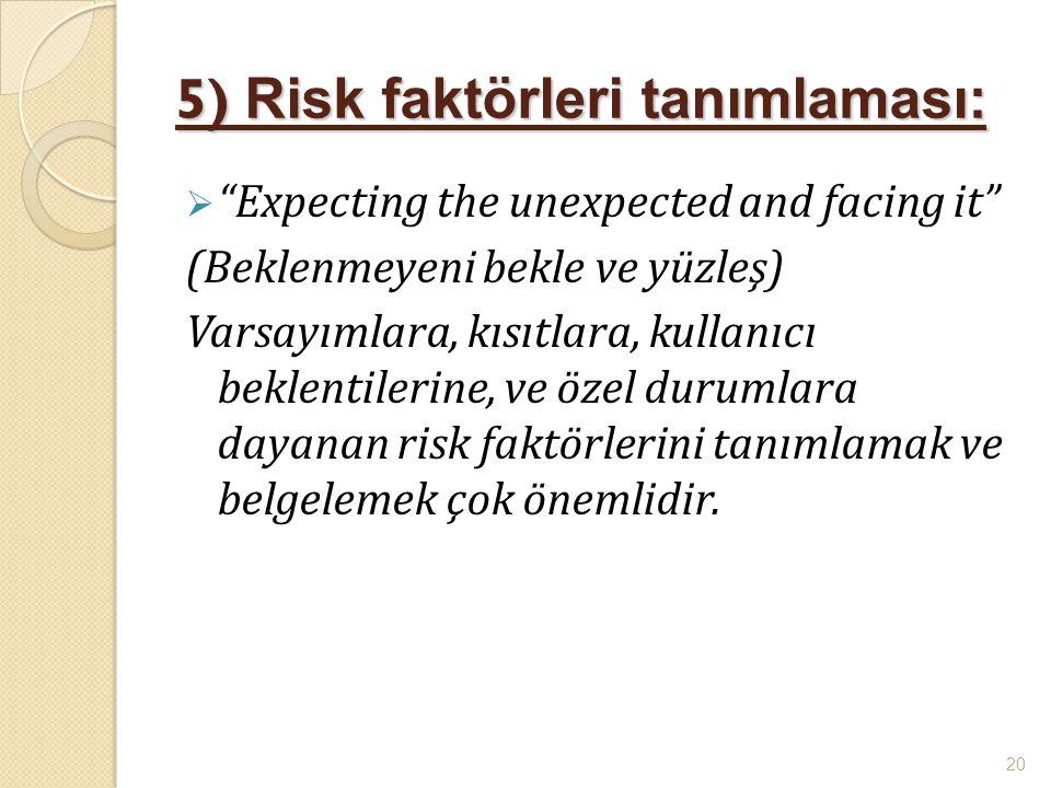 5) Risk faktörleri tanımlaması: