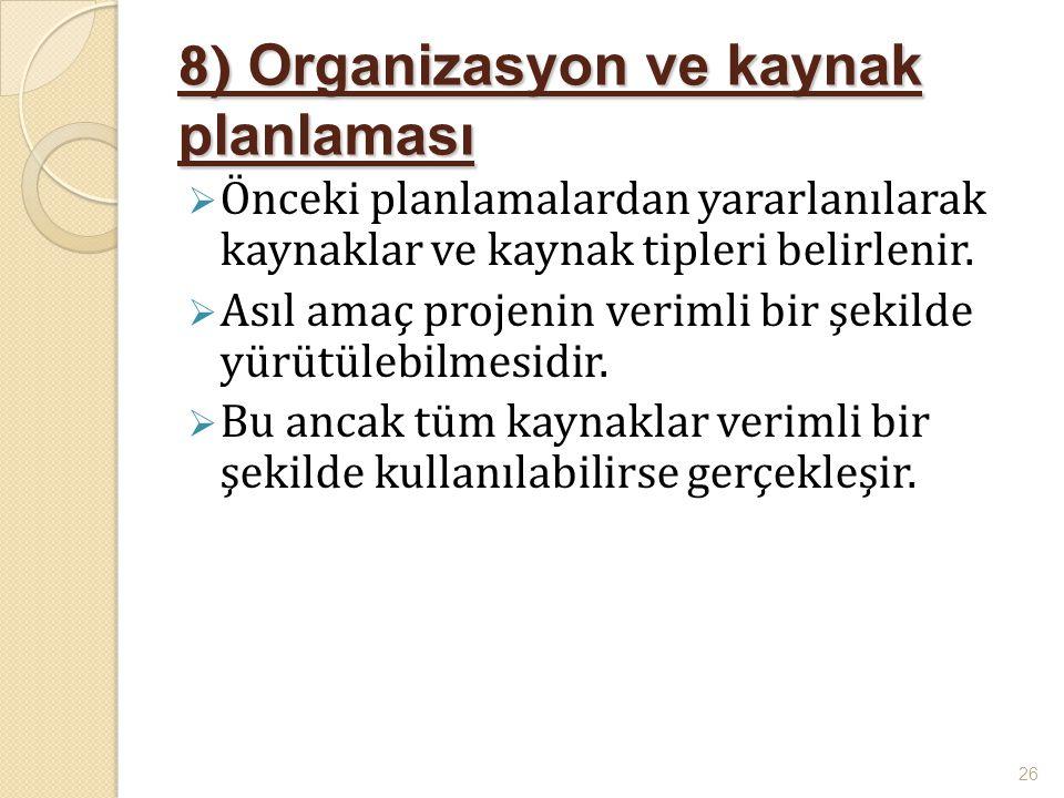 8) Organizasyon ve kaynak planlaması