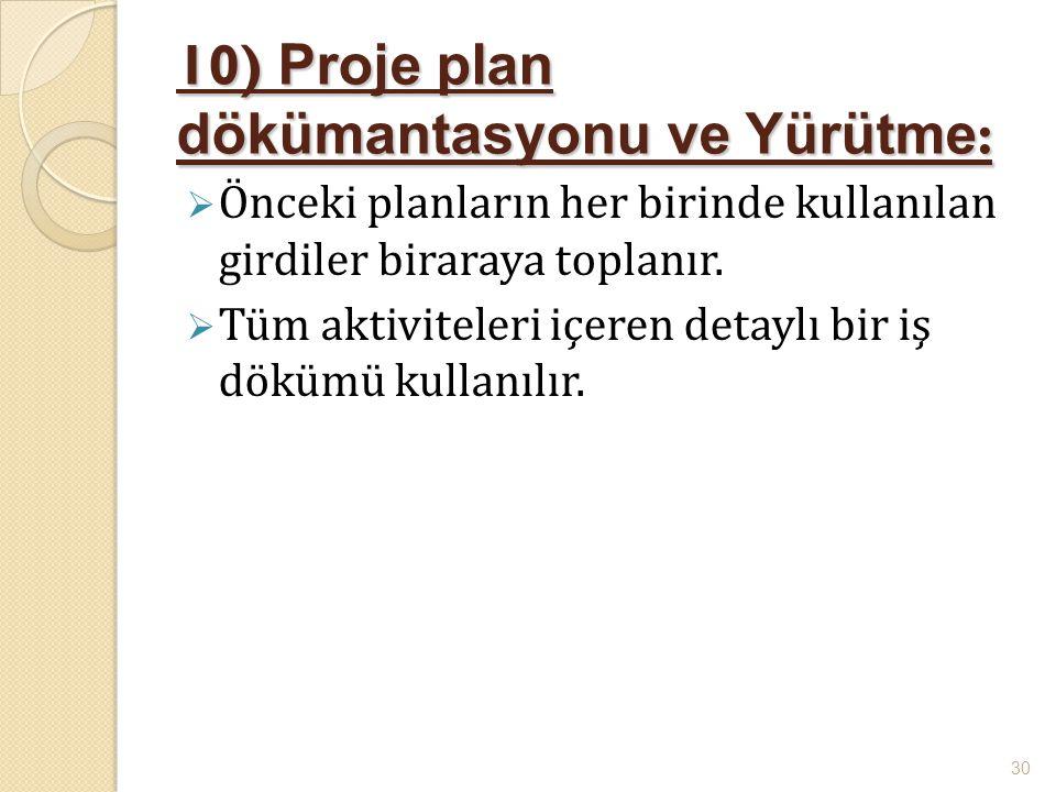 10) Proje plan dökümantasyonu ve Yürütme: