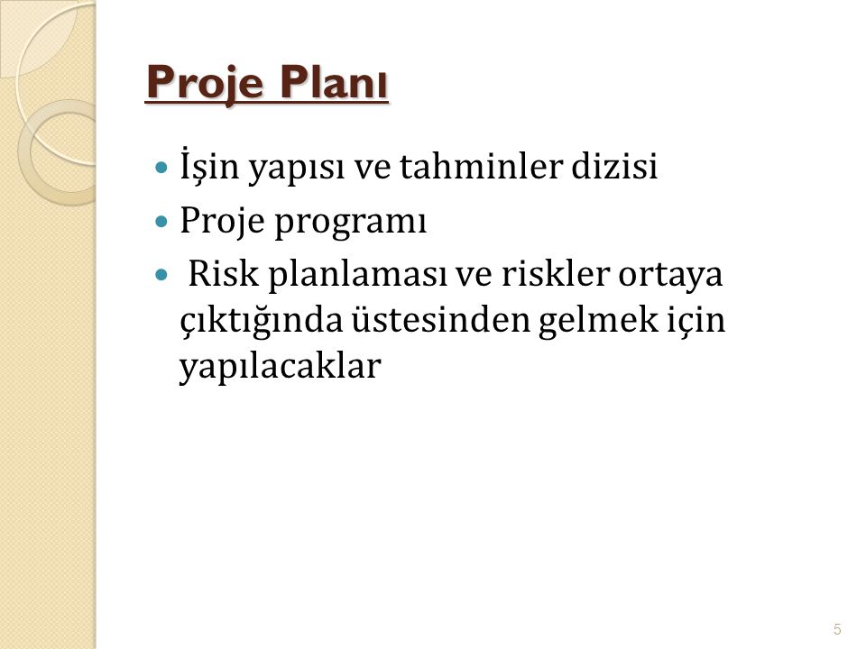 Proje Planı İşin yapısı ve tahminler dizisi Proje programı