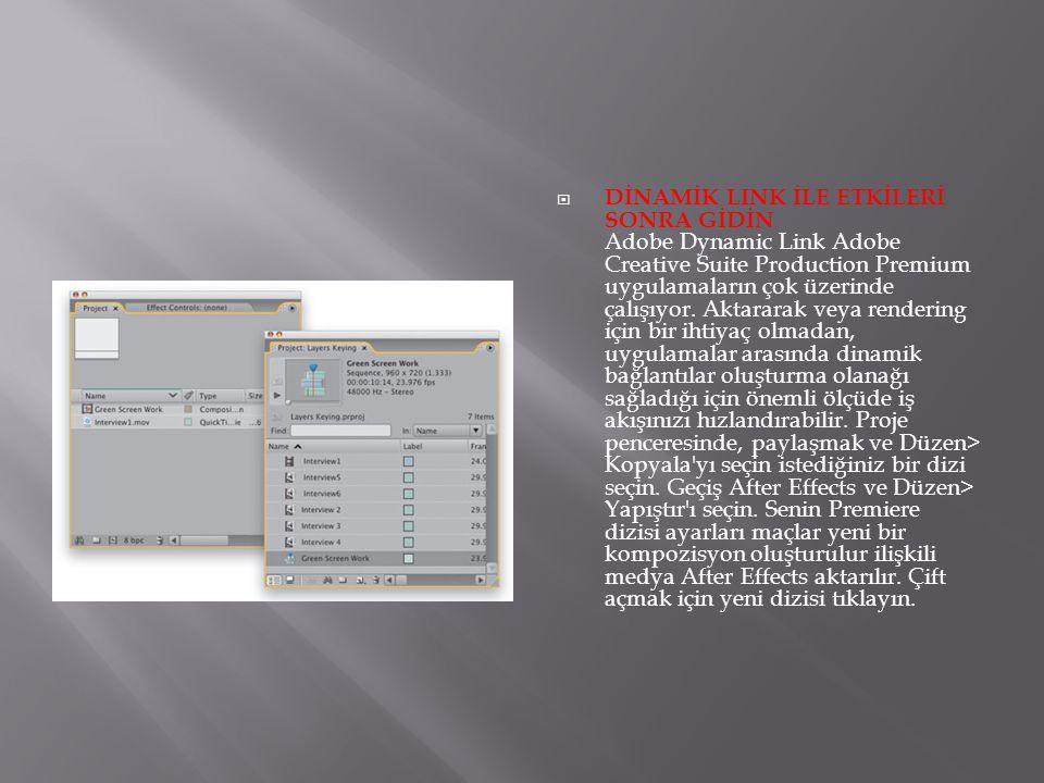 DİNAMİK LINK İLE ETKİLERİ SONRA GİDİN Adobe Dynamic Link Adobe Creative Suite Production Premium uygulamaların çok üzerinde çalışıyor.