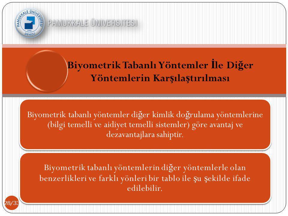 Biyometrik Tabanlı Yöntemler İle Diğer Yöntemlerin Karşılaştırılması