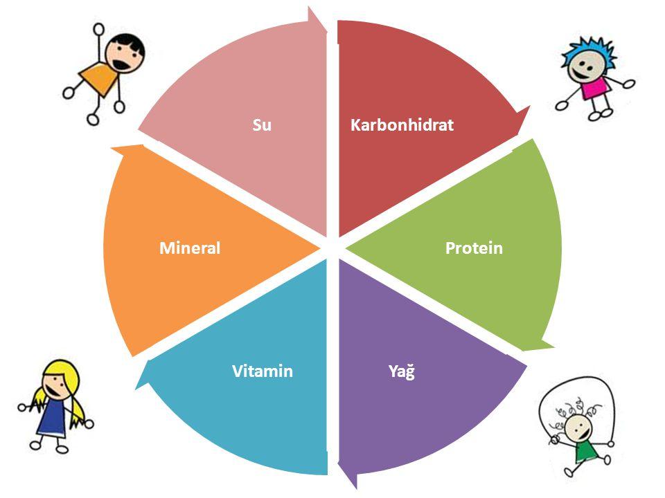 Karbonhidrat Protein Yağ Vitamin Mineral Su