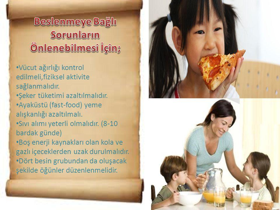 Beslenmeye Bağlı Sorunların Önlenebilmesi İçin;