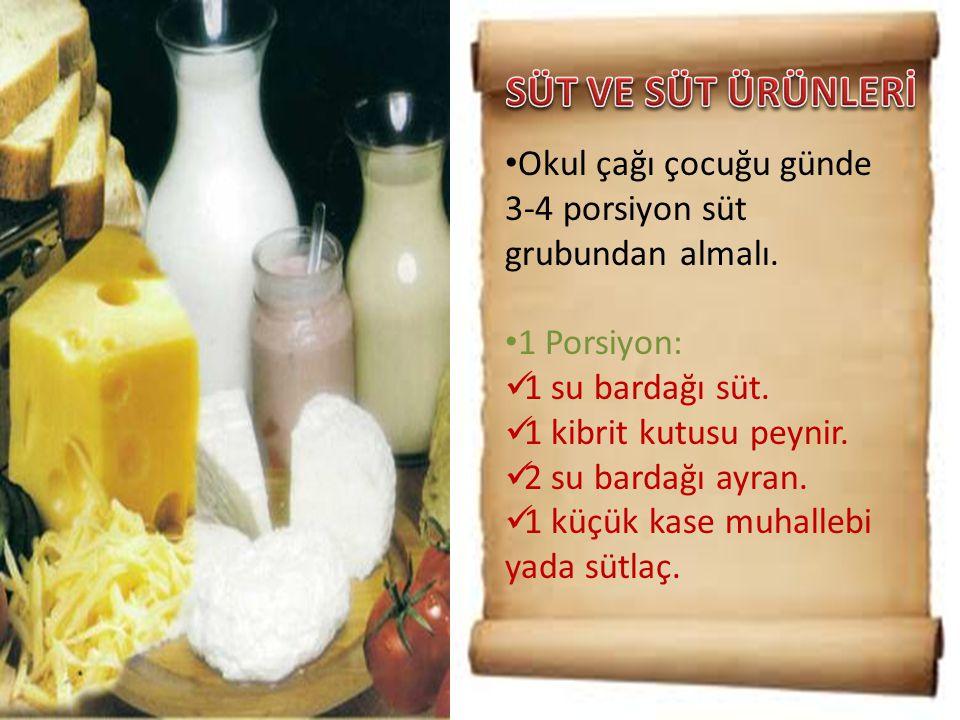 SÜT VE SÜT ÜRÜNLERİ Okul çağı çocuğu günde 3-4 porsiyon süt grubundan almalı. 1 Porsiyon: 1 su bardağı süt.