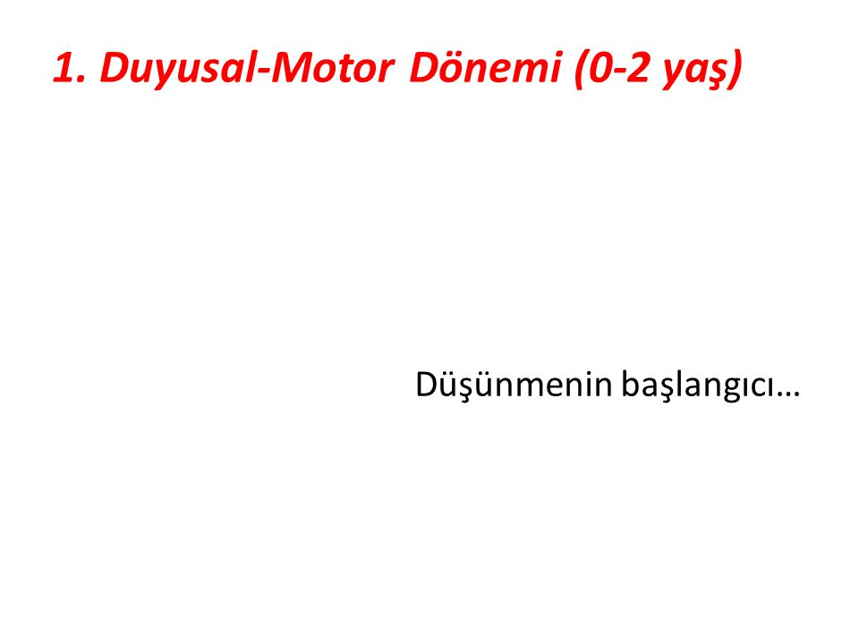 1. Duyusal-Motor Dönemi (0-2 yaş)