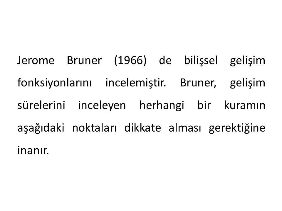 Jerome Bruner (1966) de bilişsel gelişim fonksiyonlarını incelemiştir