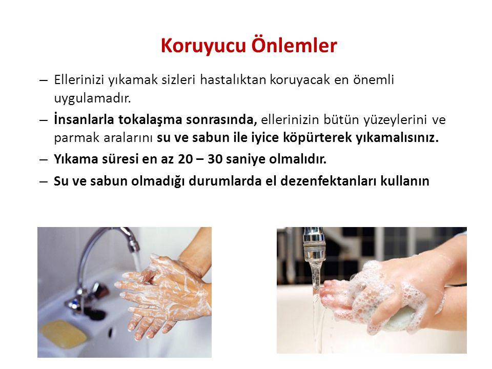 Koruyucu Önlemler Ellerinizi yıkamak sizleri hastalıktan koruyacak en önemli uygulamadır.
