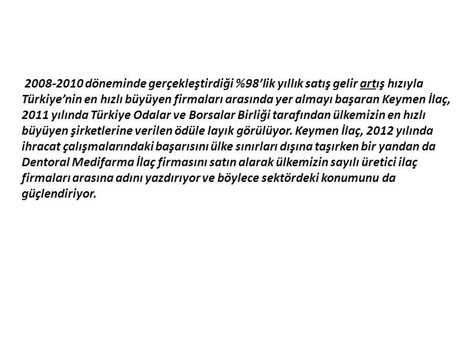 2008-2010 döneminde gerçekleştirdiği %98'lik yıllık satış gelir artış hızıyla Türkiye'nin en hızlı büyüyen firmaları arasında yer almayı başaran Keymen İlaç, 2011 yılında Türkiye Odalar ve Borsalar Birliği tarafından ülkemizin en hızlı büyüyen şirketlerine verilen ödüle layık görülüyor.
