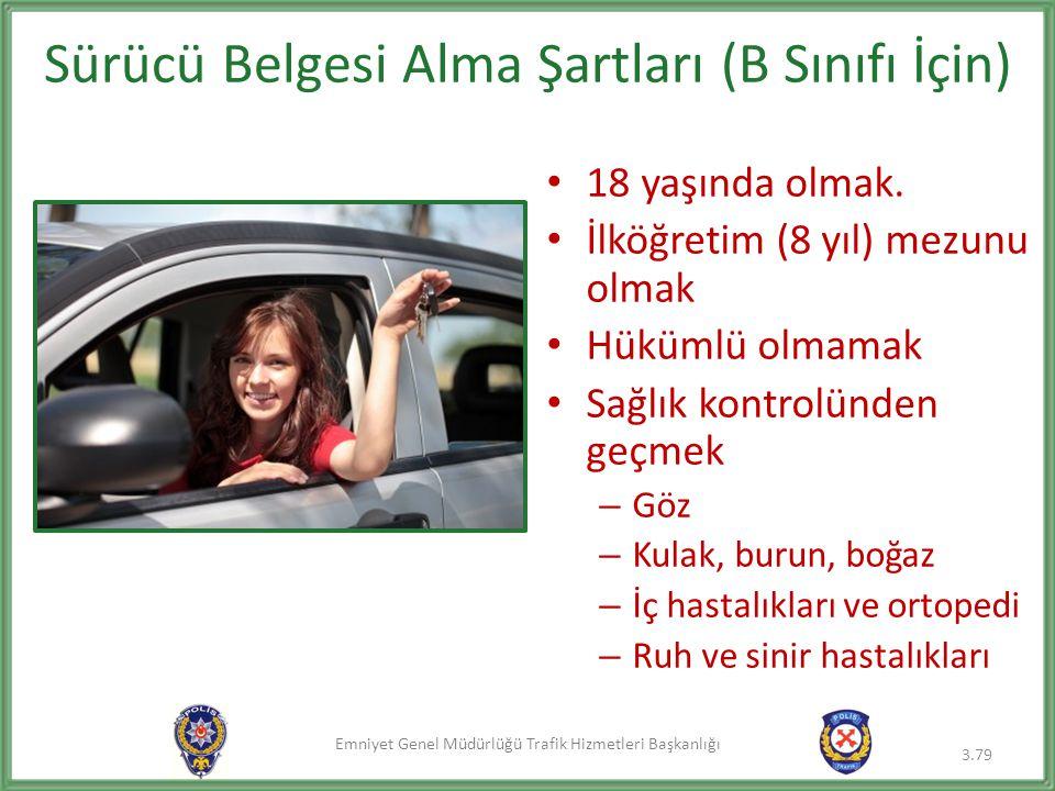 Sürücü Belgesi Alma Şartları (B Sınıfı İçin)