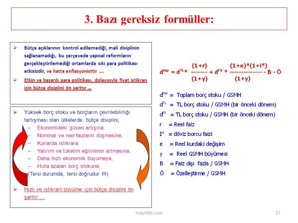 3. Bazı gereksiz formüller:
