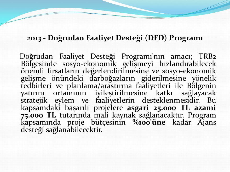 2013 - Doğrudan Faaliyet Desteği (DFD) Programı Doğrudan Faaliyet Desteği Programı'nın amacı; TRB2 Bölgesinde sosyo-ekonomik gelişmeyi hızlandırabilecek önemli fırsatların değerlendirilmesine ve sosyo-ekonomik gelişme önündeki darboğazların giderilmesine yönelik tedbirleri ve planlama/araştırma faaliyetleri ile Bölgenin yatırım ortamının iyileştirilmesine katkı sağlayacak stratejik eylem ve faaliyetlerin desteklenmesidir.