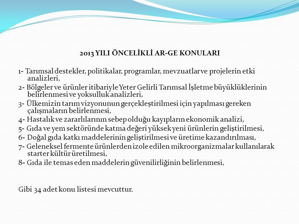 2013 YILI ÖNCELİKLİ AR-GE KONULARI
