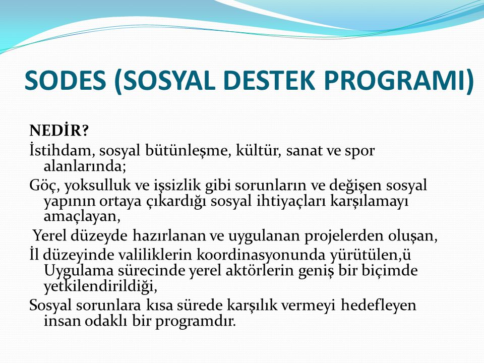 SODES (SOSYAL DESTEK PROGRAMI)
