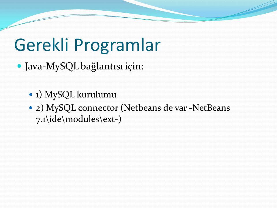Gerekli Programlar Java-MySQL bağlantısı için: 1) MySQL kurulumu