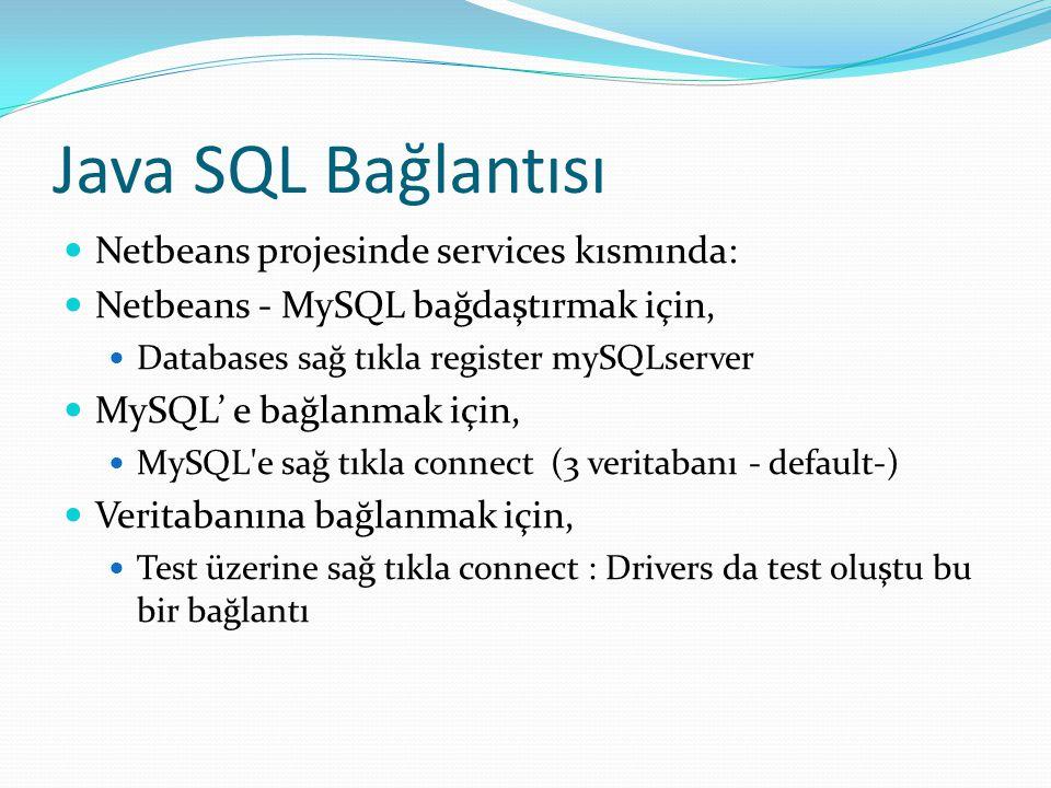 Java SQL Bağlantısı Netbeans projesinde services kısmında: