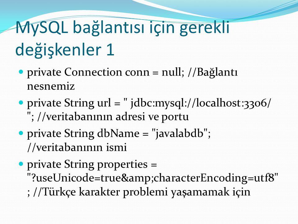 MySQL bağlantısı için gerekli değişkenler 1