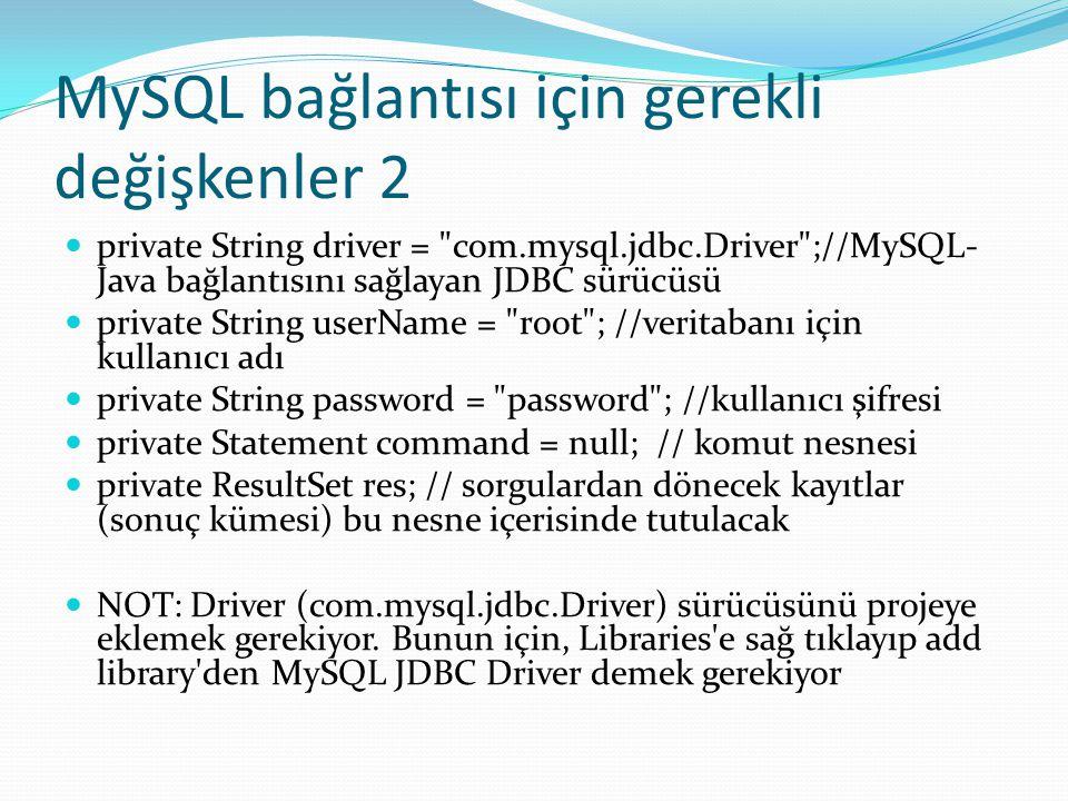 MySQL bağlantısı için gerekli değişkenler 2