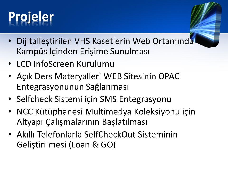 Projeler Dijitalleştirilen VHS Kasetlerin Web Ortamında Kampüs İçinden Erişime Sunulması. LCD InfoScreen Kurulumu.