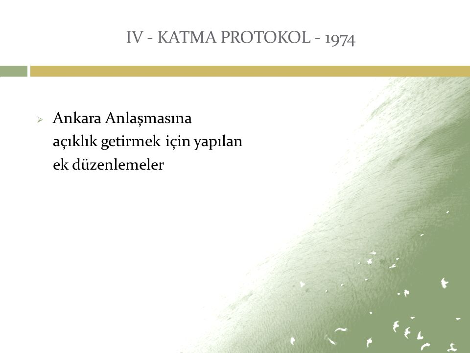IV - KATMA PROTOKOL - 1974 Ankara Anlaşmasına