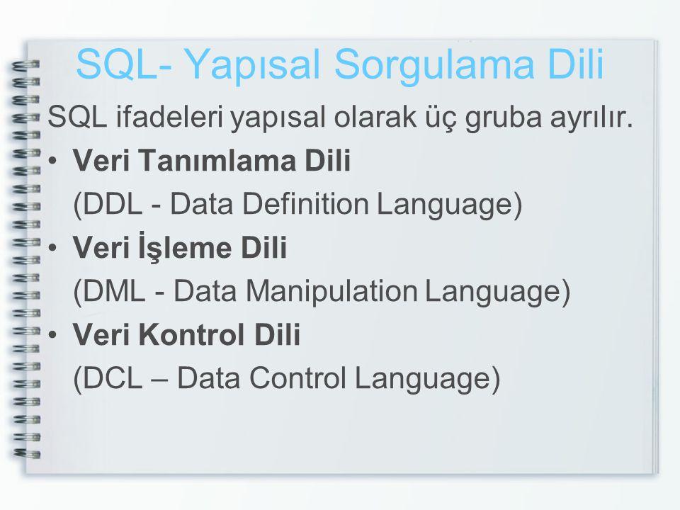 SQL- Yapısal Sorgulama Dili