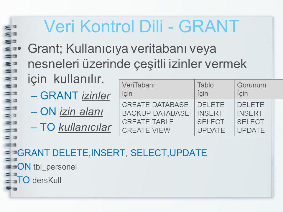 Veri Kontrol Dili - GRANT
