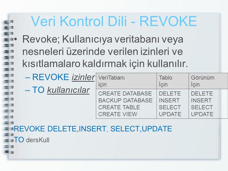 Veri Kontrol Dili - REVOKE