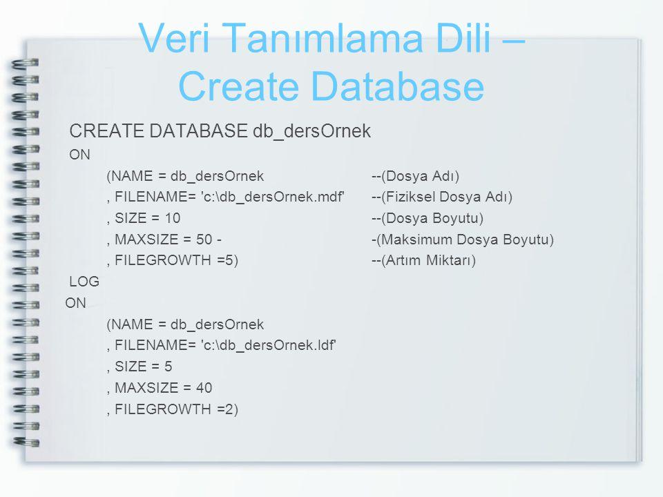 Veri Tanımlama Dili – Create Database