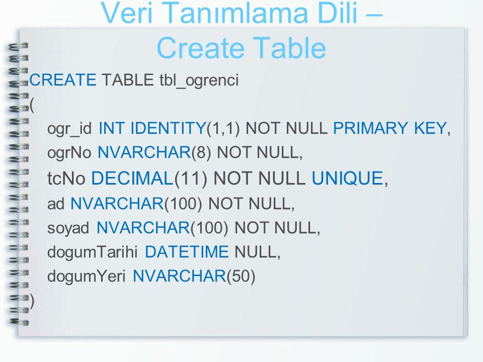 Veri Tanımlama Dili – Create Table