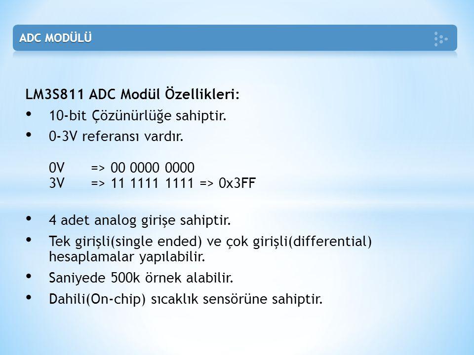 LM3S811 ADC Modül Özellikleri: 10-bit Çözünürlüğe sahiptir.