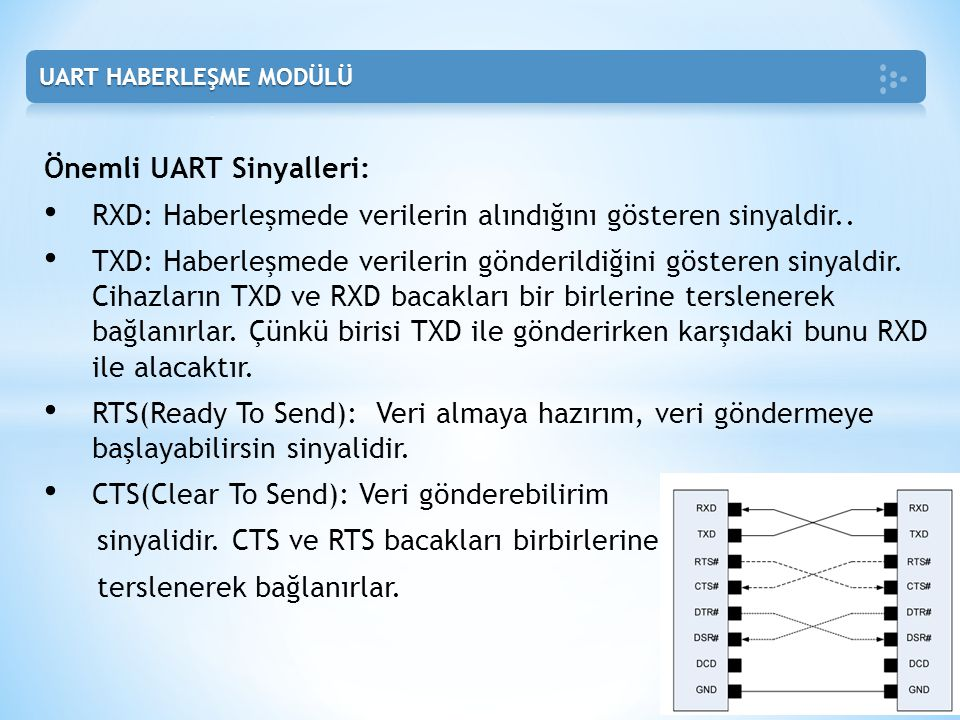 Önemli UART Sinyalleri: