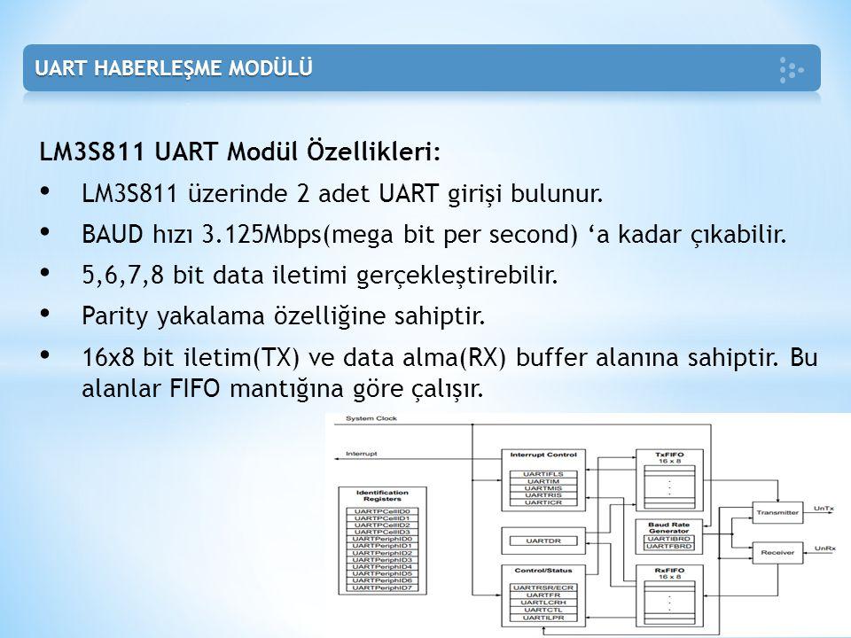 LM3S811 UART Modül Özellikleri: