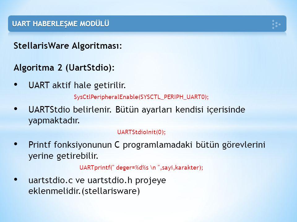 StellarisWare Algoritması: Algoritma 2 (UartStdio):