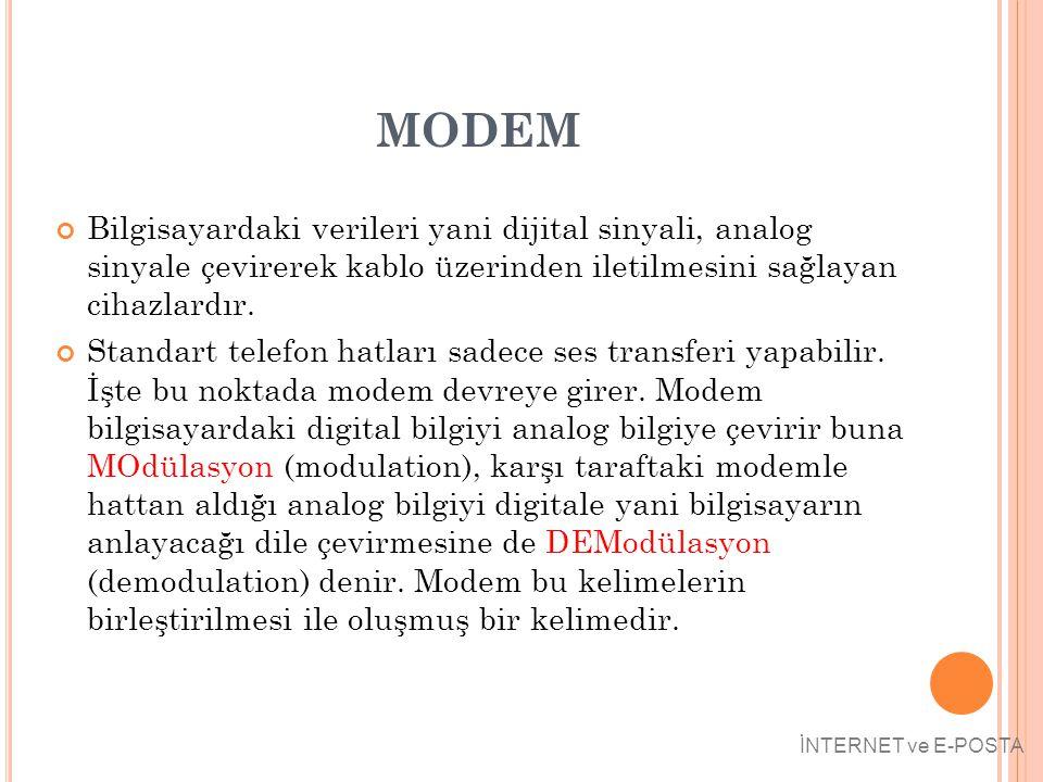 MODEM Bilgisayardaki verileri yani dijital sinyali, analog sinyale çevirerek kablo üzerinden iletilmesini sağlayan cihazlardır.