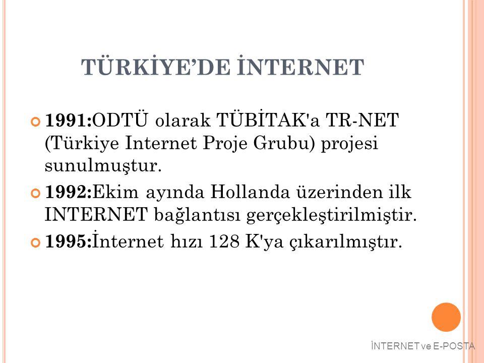 TÜRKİYE'DE İNTERNET 1991:ODTÜ olarak TÜBİTAK a TR-NET (Türkiye Internet Proje Grubu) projesi sunulmuştur.