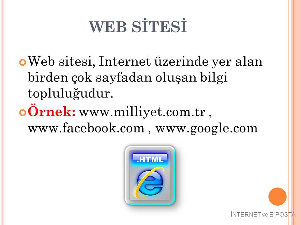 WEB SİTESİ Web sitesi, Internet üzerinde yer alan birden çok sayfadan oluşan bilgi topluluğudur.
