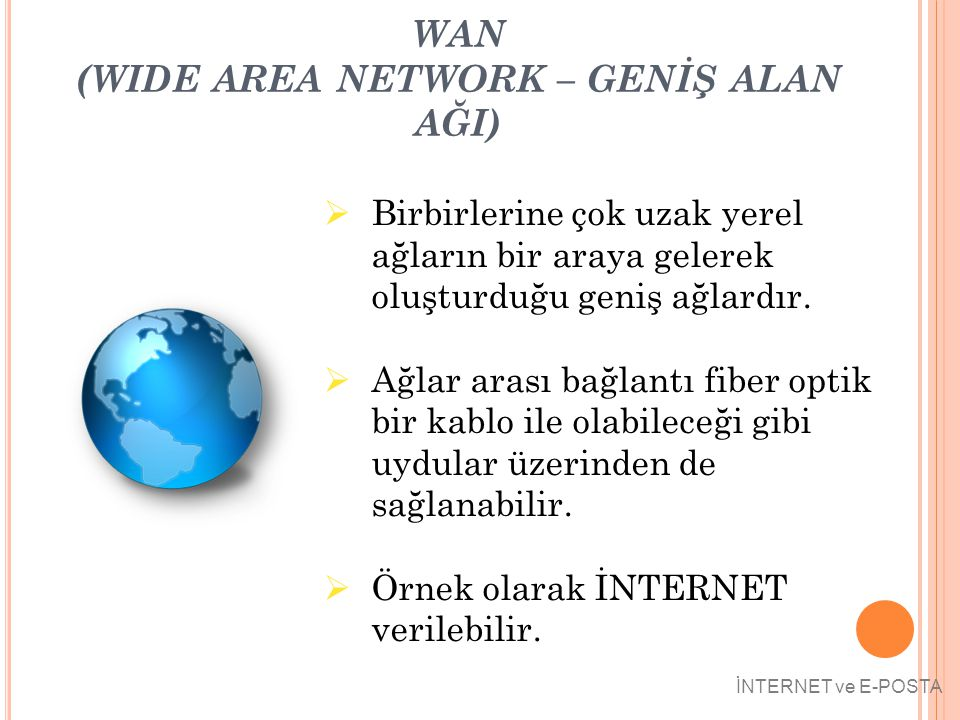 WAN (WIDE AREA NETWORK – GENİŞ ALAN AĞI)