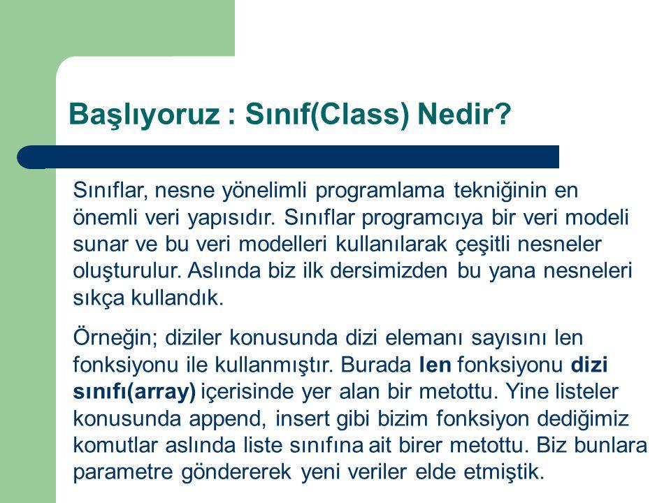 Başlıyoruz : Sınıf(Class) Nedir