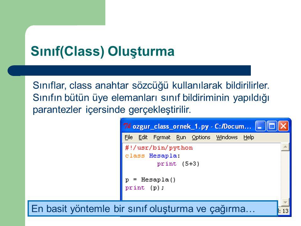 Sınıf(Class) Oluşturma