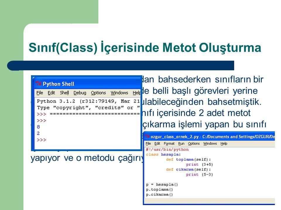 Sınıf(Class) İçerisinde Metot Oluşturma