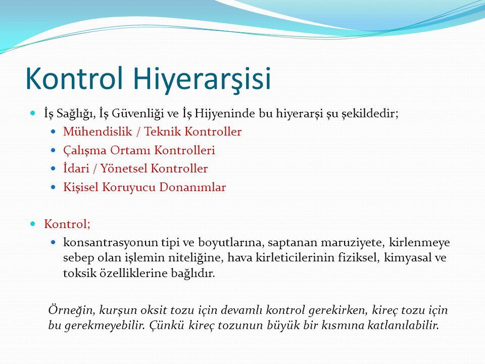 Kontrol Hiyerarşisi İş Sağlığı, İş Güvenliği ve İş Hijyeninde bu hiyerarşi şu şekildedir; Mühendislik / Teknik Kontroller.