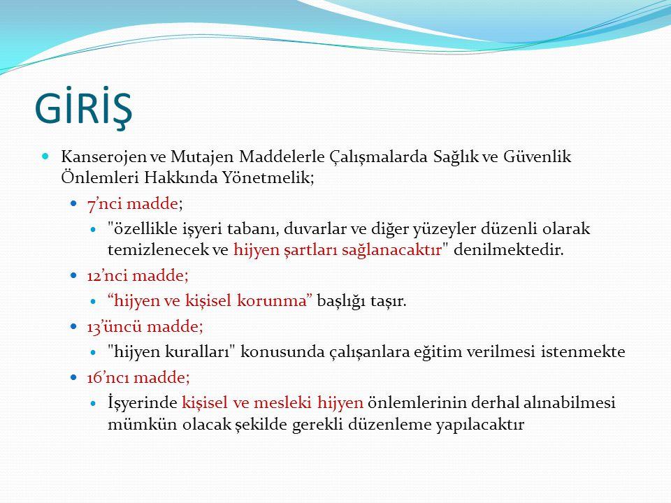 GİRİŞ Kanserojen ve Mutajen Maddelerle Çalışmalarda Sağlık ve Güvenlik Önlemleri Hakkında Yönetmelik;