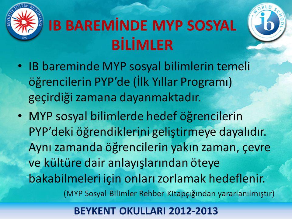 IB BAREMİNDE MYP SOSYAL BİLİMLER