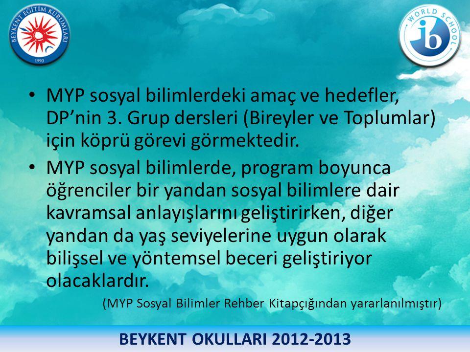 MYP sosyal bilimlerdeki amaç ve hedefler, DP'nin 3