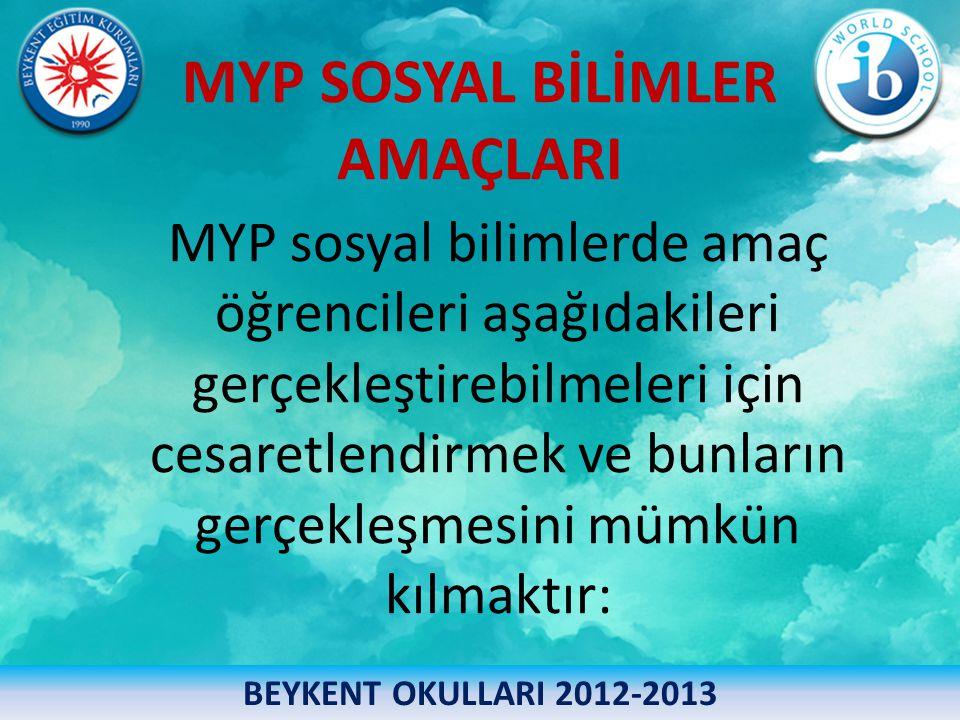 MYP SOSYAL BİLİMLER AMAÇLARI