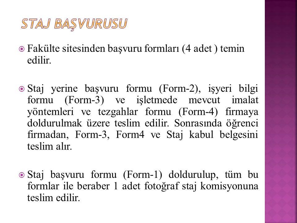 Staj Başvurusu Fakülte sitesinden başvuru formları (4 adet ) temin edilir.