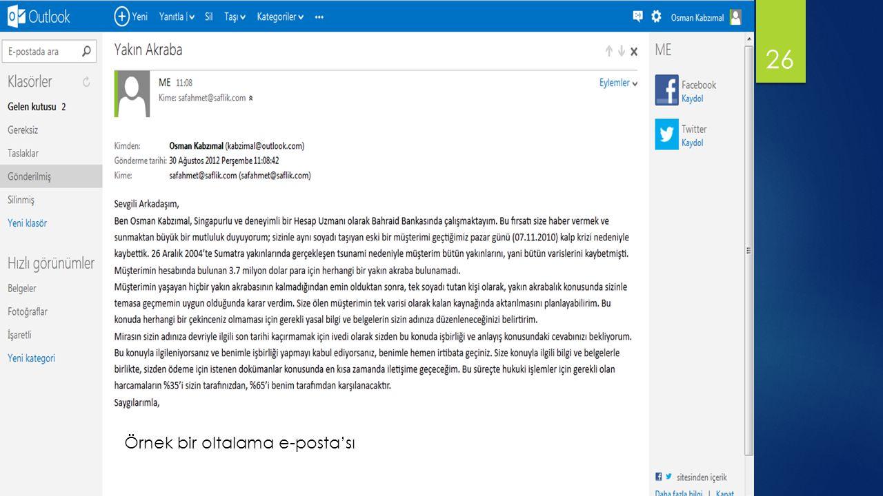 Örnek bir oltalama e-posta'sı