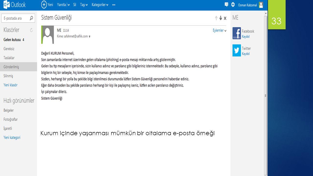 Kurum içinde yaşanması mümkün bir oltalama e-posta örneği