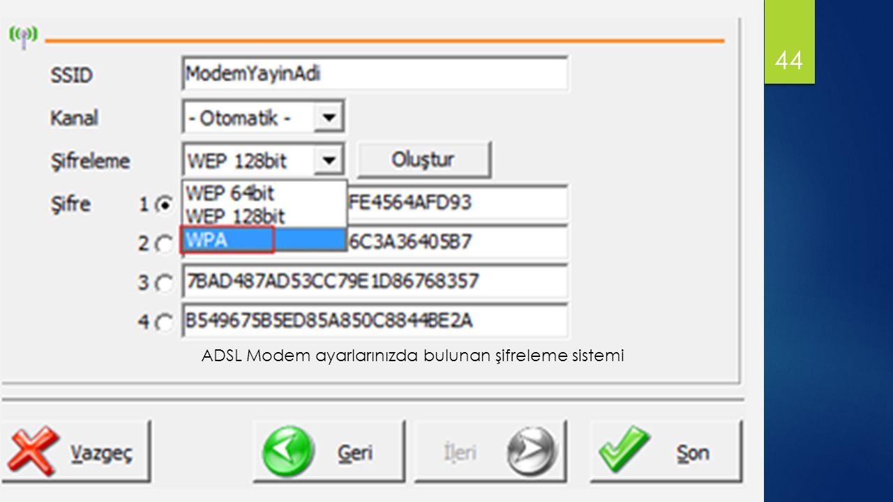 ADSL Modem ayarlarınızda bulunan şifreleme sistemi